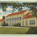 A postcard of Modesto High School circa 1918, image made available by the Boston Public Library.